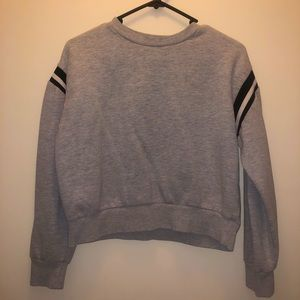 Grey jumper black and white stripes $11